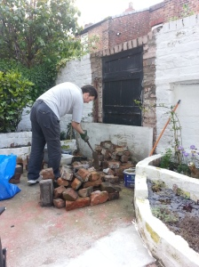 David clearing the excess bricks