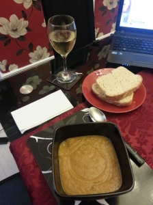 Roasted Carrot and Garlic Soup with freshly made bread