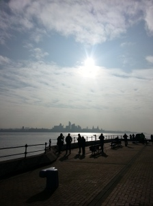 Liverpool skyline during partial eclipse 2015