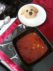 Red Pepper and Bean Soup with Dog shaped Wholemeal bread