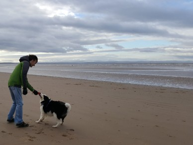 David and Riley at Crosby Beach