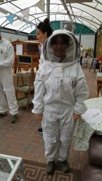 Christine in bee suit