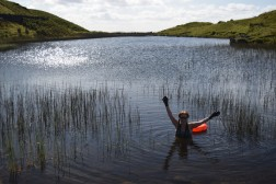 Swimming at Alcock Tarn