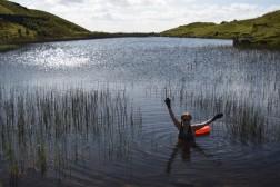 Swimming at Alcock Tarn